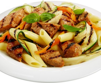 Penne with Spicy Italian sausages and grilled vegetables
