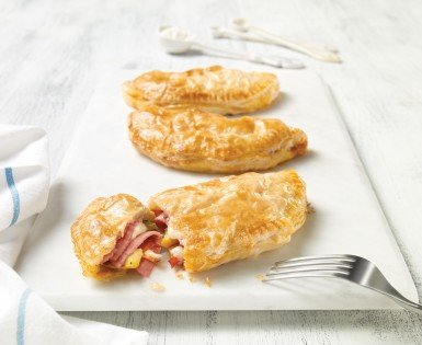 Salami turnovers with three cheeses and oven-roasted vegetables