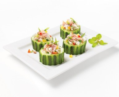 Cucumber logs with black forest smoked ham