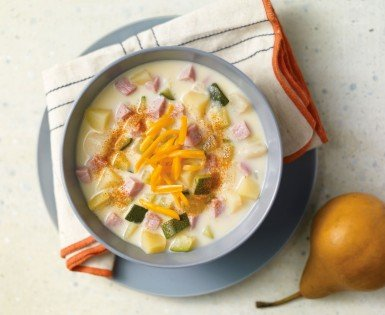 Ham, zucchini and pear chowder