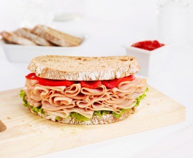 Country style sandwich with old fashioned smoked ham