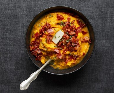 Mashed sweet potato with bacon and chorizo crumble