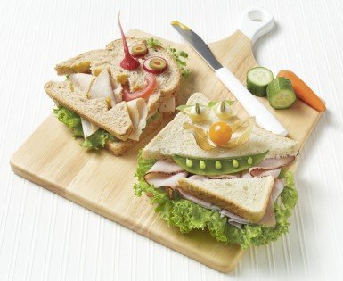 Funny-face sandwiches with cold cuts