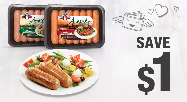 Save 1$ on a Amoré Italian sausages packaging