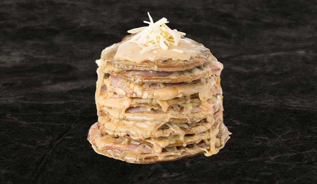 Ham and maple butter crepe cake
