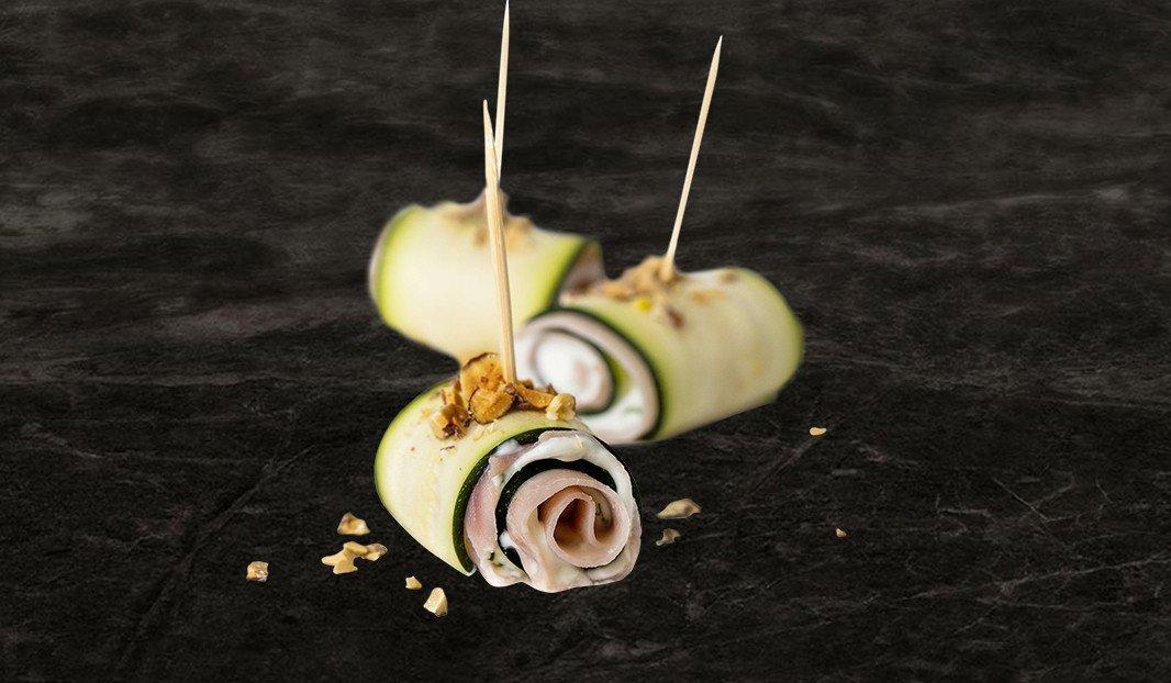 Zucchini, Ham and Ricotta Rolls