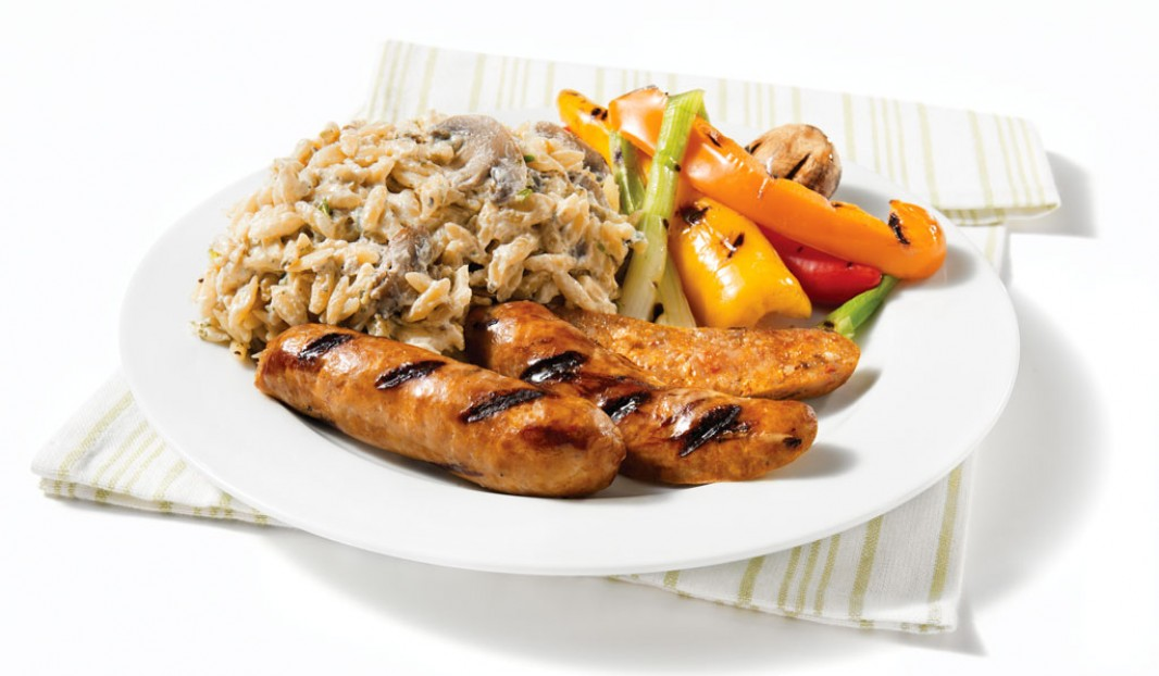 Grilled Italian Sausages with Mushroom and Boursin Orzo