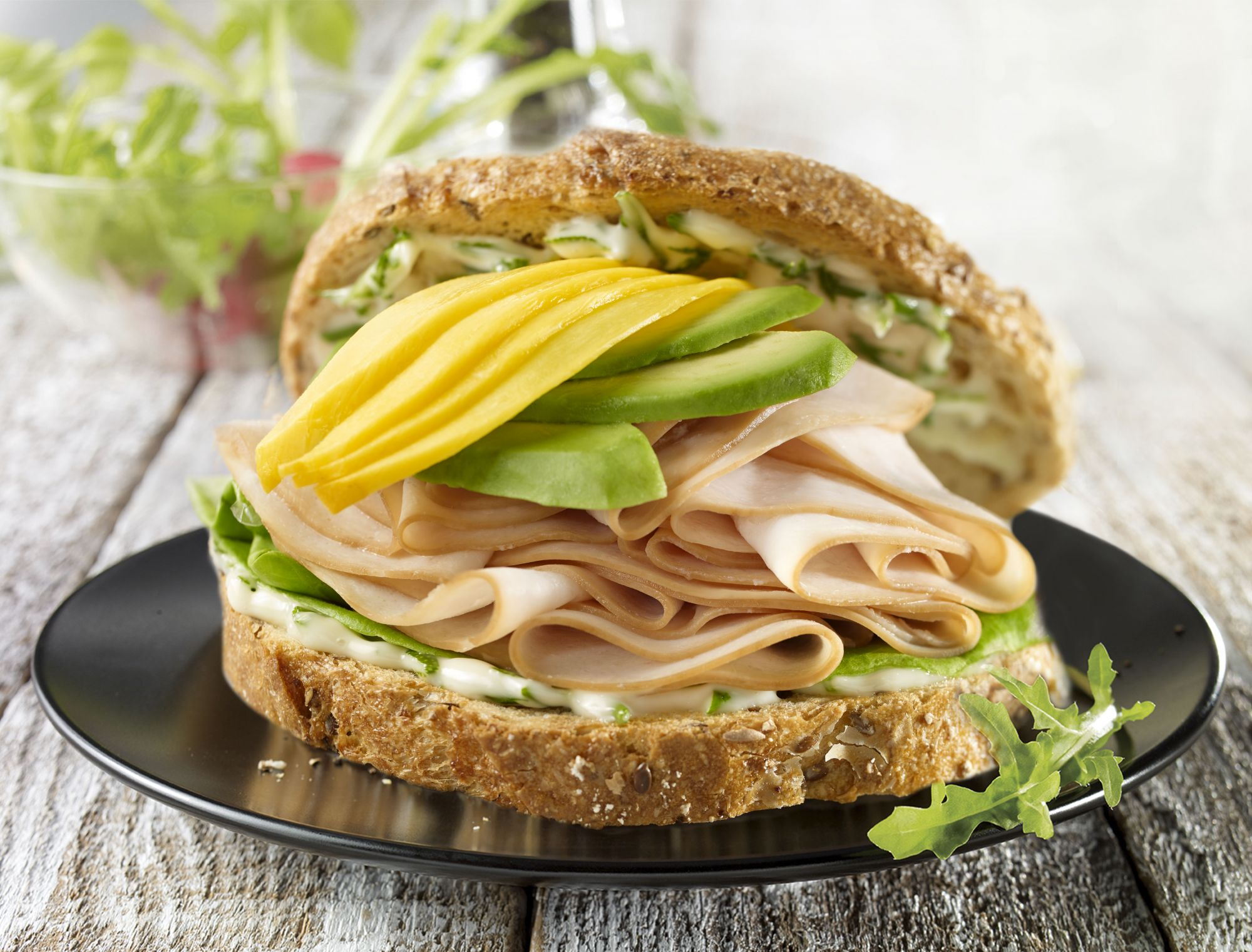 Sandwich dinde mangue et avocat olymel inspirez vous for 1 cuillere a table en ml