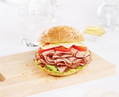 Kaiser rolls with black forest smoked ham and italian mayonnaise