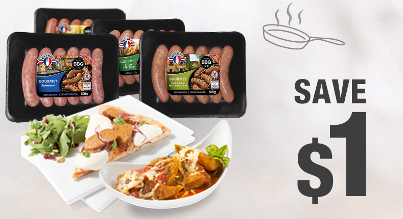 Save $1 on the purchase of any package of Gourmet sausages