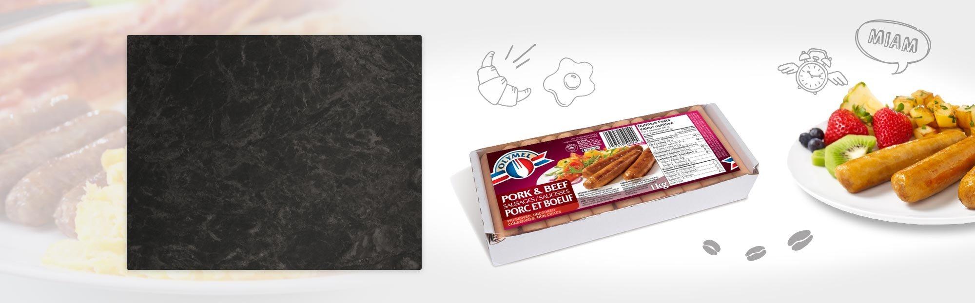 Saucisses à déjeuner porc et boeuf