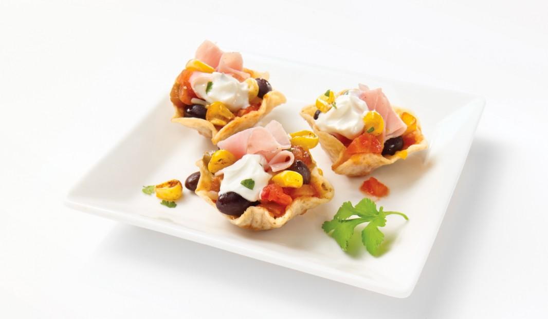 Petites croustades mexicaines au jambon fumé à l'ancienne