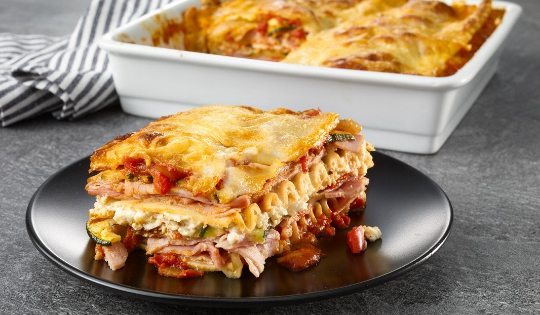 Lasagna with ham, grilled vegetables and cheese