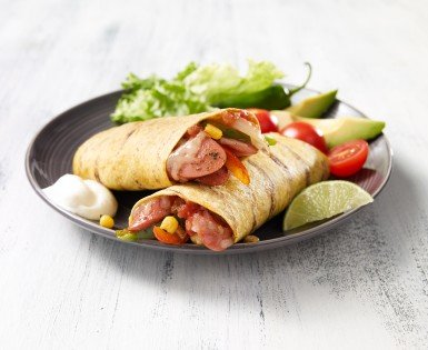 Grilled tortilla with wieners