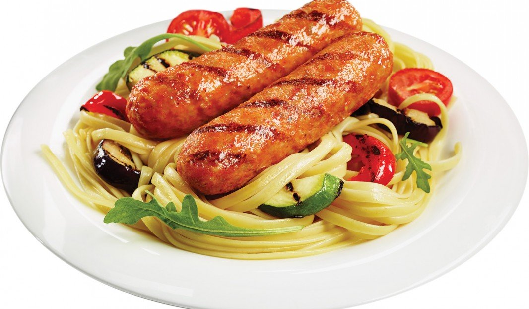 Linguini with Spicy Italian Sausages and Grilled Vegetables