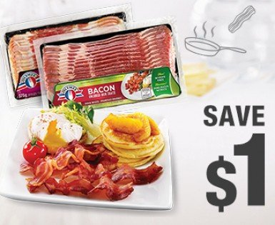 Save $1 on an Olymel fresh bacon packaging