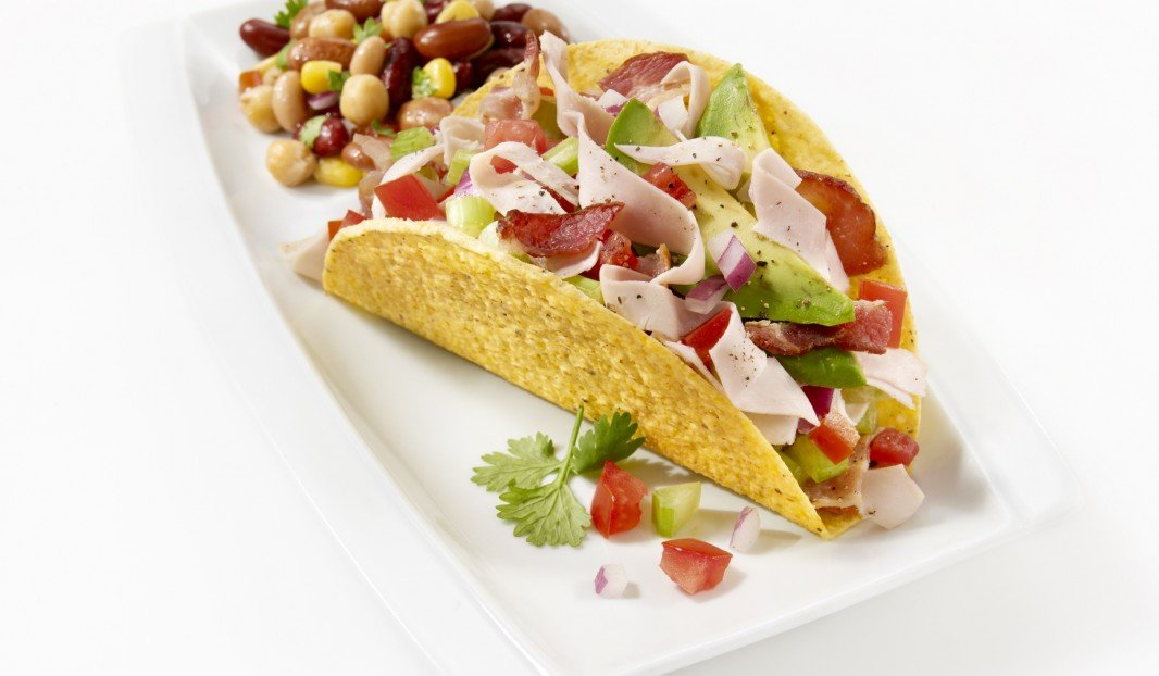 Chicken, avocado and bacon tacos