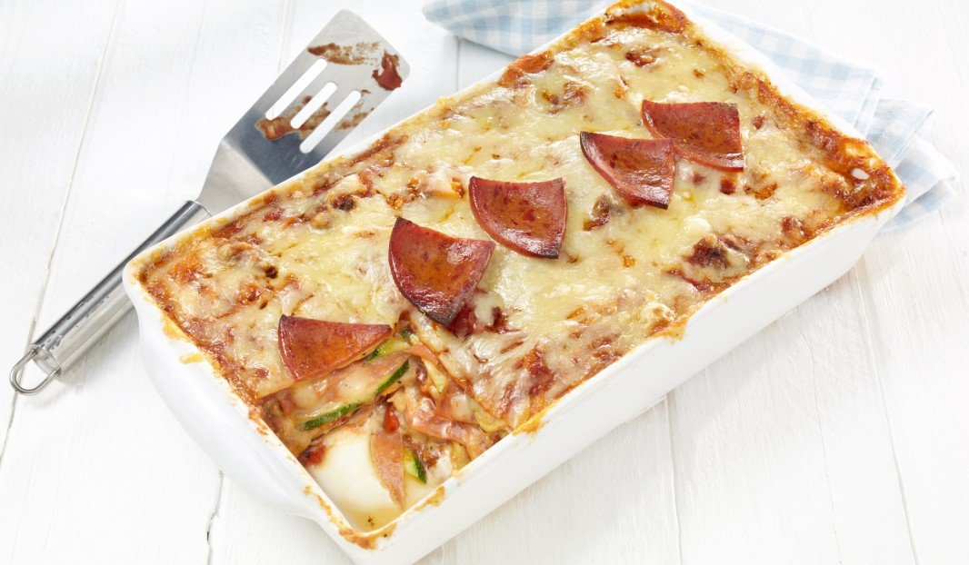 Lasagne with zucchini and pepperoni