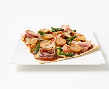 European Sausage, Smoked Ham and Grilled Vegetable Pizza