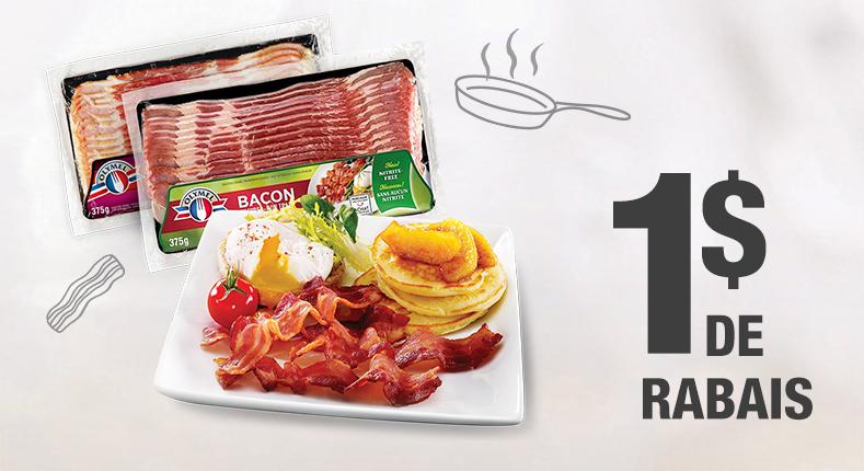 1 $ de rabais à l'achat d'un paquet de bacon frais Olymel