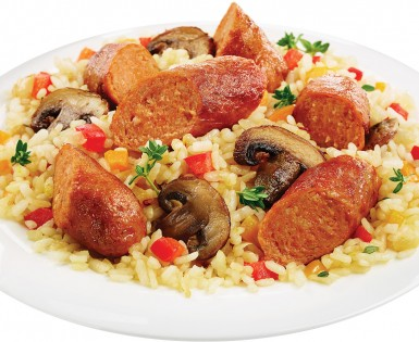 Orzo with Spicy Italian sausages and mushrooms