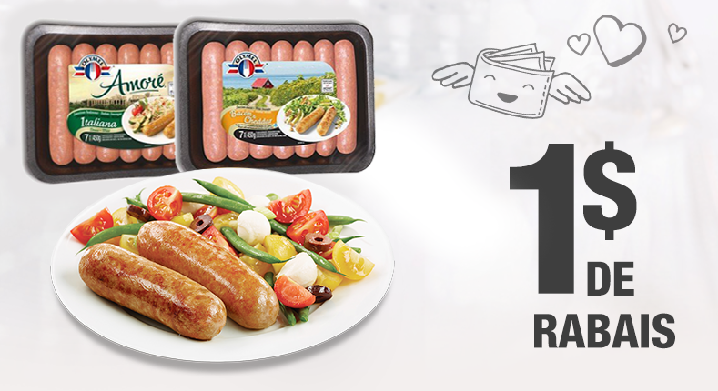 1 $ de rabais à l'achat d'un emballage de saucisses européennes Olymel de 375g ou plus