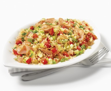 Couscous, ham and vegetable salad
