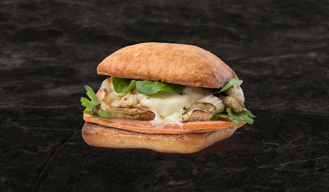 Mock chicken and roasted onion sandwich