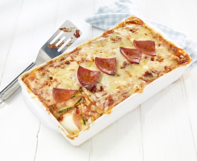 Lasagna with zucchini and pepperoni