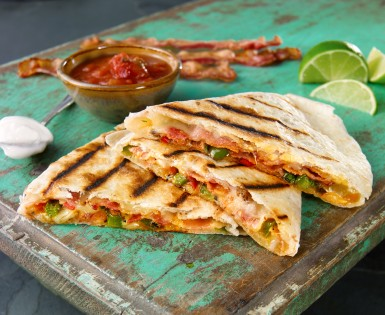 Bacon, cheese and roasted vegetable quesadillas