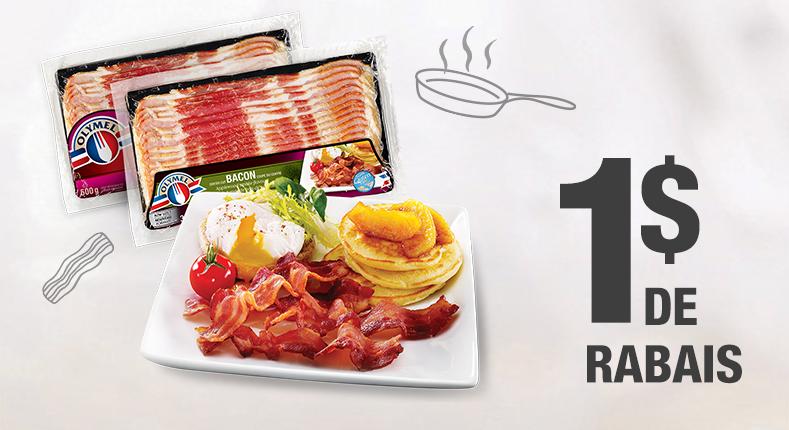 Économisez 1 $ à l'achat d'un emballage de bacon frais Olymel (375 g)