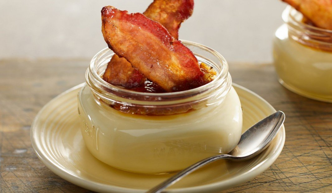 Maple crème brulée with caramelized bacon