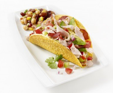 Tacos au dindon, avocat et bacon
