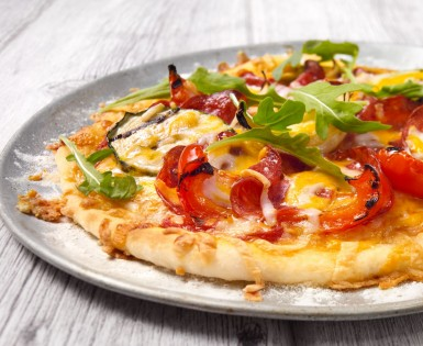 Amoré pepperoni pizza with grilled vegetables